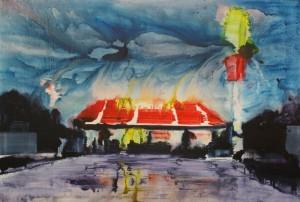 Bishop (McDonalds), 2003, Acryl, Tusche auf Nessel, 140 x 190 cm, copyright Hengesbach Gallery Berlin.