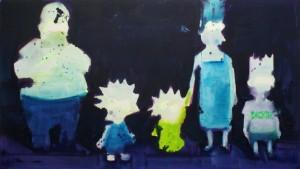 Familie S., 2005, FAMILIE S. 2005, Acryl, Tusche auf Nessel, 170 x 300 cm, copyright Hengesbach Gallery Berlin.