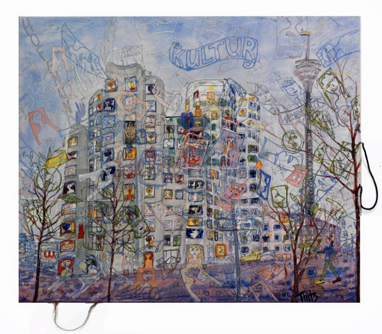 THITZ, Düsseldorf - Hafen, 2013, Acryl und Tüten auf Leinwand, 100 x 120 cm, ©Thitz