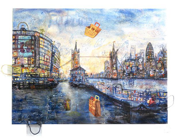 THITZ, London - Baglight, 2013, Acryl und Tüten auf Leinwand, 120 x 160 cm, ©Thitz
