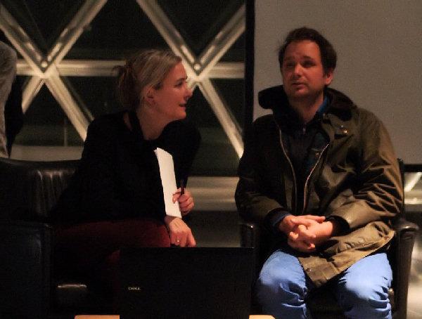 Ackermann und Saraceno bei der Vorbereitung ihres Gesprächs
