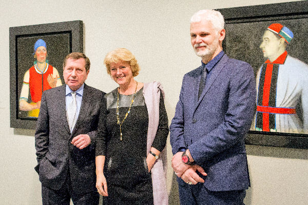 links S.E. der russische Botschafter Grinin, Staatsministerin für Kultur und Medien prof. Monika Grütters, Rein Wolfs, Intendant Bundeskunsthalle