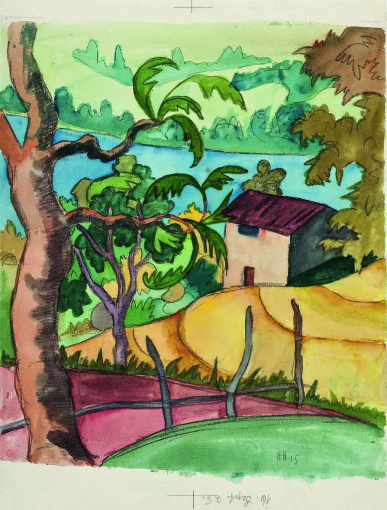 Verso Arasio, 1925 Grafit, Kreide und Aquarell 27 x 23,5 cm Fondazione Hermann Hesse Montagnola,  Depositum Privatsammlung