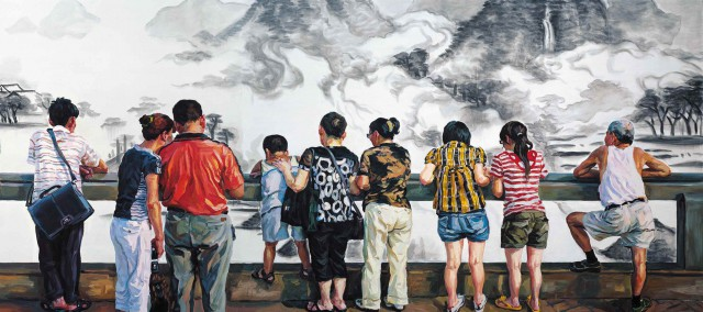 Im NRW-Forum Düsseldorf zu sehen: Huang Min  View, review, 2010  Oil on canvas  218 x 1600 cm  © Huang Min