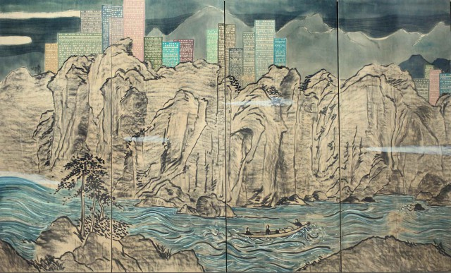 Lam Tungpang  Land Escape No. 12, 2014  Acrylics, charcoal, stickers and plywood  244 x 400 cm  Courtesy of the Artist