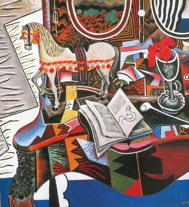Joan Miró (1893-1983), Le Cheval, la pipe et la fleur rouge (Das Pferd, die Pfeife und die rote Blume), 1920, Öl auf Leinwand, 82,5 x 75 cm, Philadelphia Museum of Art, Philadelphia, Geschenk von Herrn und Frau C. Earle Miller 1986, © Successió Miró / VG Bild-Kunst 2015 Foto: Foto: Philadelphia Museum of Art © Kunstsammlung NRW