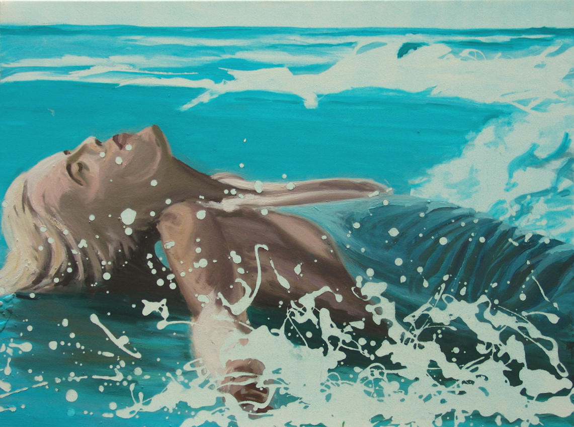 "Künstler Sven Blatt - ""Frau am Strand"" | 90 x 60 | 2007 | Mischtechnik"