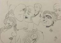 "Künstler: Sebastian Mayrle - ""faces"" | 2018 | 30 x 40 cm | Stift auf Papier"