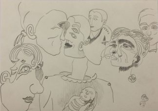 "Künstler: Sebastian Mayrle - ""faces""   2018   30 x 40 cm   Stift auf Papier"