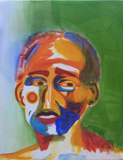 "Künstler: Sebastian Mayrle - ""selfportrait"" | 2018 | 50 x 40 cm | Acryl a. LW"