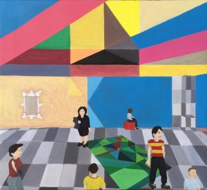 "Künstler: Sebastian Mayrle - ""Regenbogen über den grünen Feldern"" | 2018 | 45,5 x 50 cm | Öl a. LW"
