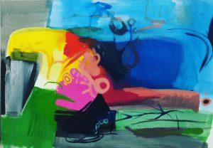 "Künstler: Sebastian Mayrle - ""bird and others"" | 2019 | 60 x 80 cm | Öl und Gouache a. LW"