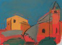 "Künstler: Sebastian Mayrle - ""lourmarin 1/4"" | 2015 | 42 x 56 cm | Gouache"