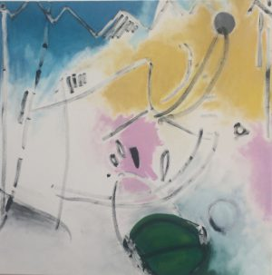 "Künstler: Sebastian Mayrle - ""choir trail"" | 2018 | 90 x 90 cm | Öl a. LW"