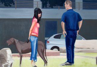 """Künstler: Sven Blatt - """"Security""""   90 x 135   2007   Öl auf Leinwand"""