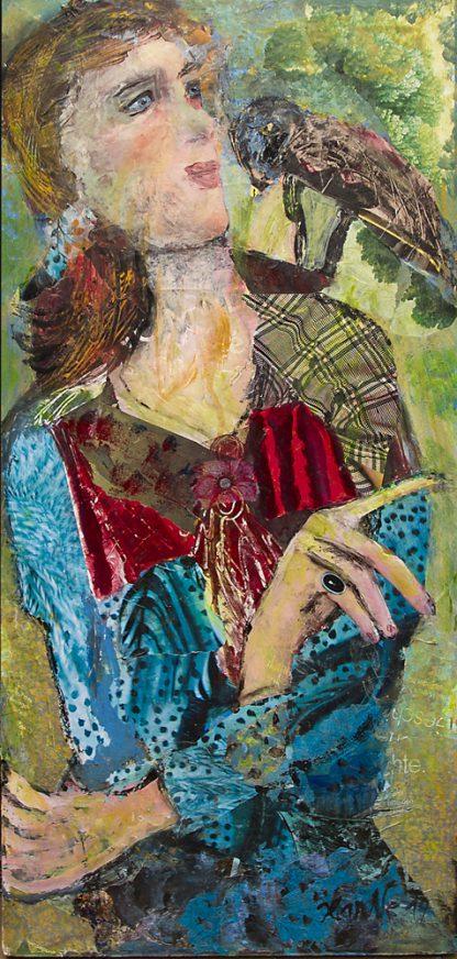 Künstlerin: Hanne Neß | 2019 | 62 x 29 x 1,6 cm | Acryl/Collage a. Holz | ungerahmt