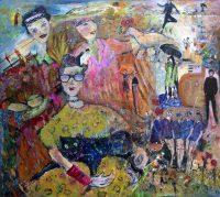 """Spiel des Lebens"" - Hanne Neß | 2019 | 96 x 110 x 1,6 cm | Acryl/Collage a. Holz"
