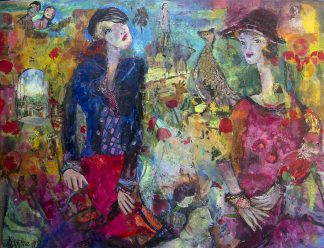 """Spiel des Lebens II"" - Hanne Neß | 2019 | 90 x 120 x 1,6 cm | Acryl/Collage a. Holz"