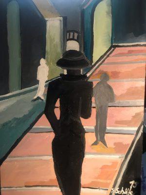 Künstlerin: Sabine Schäfer | Der Schatten der Vergangenheit | 2019 120 x 80 cm | Acryl a. LW | auf Keilrahmen gespannt (ohne Zierrahmen)