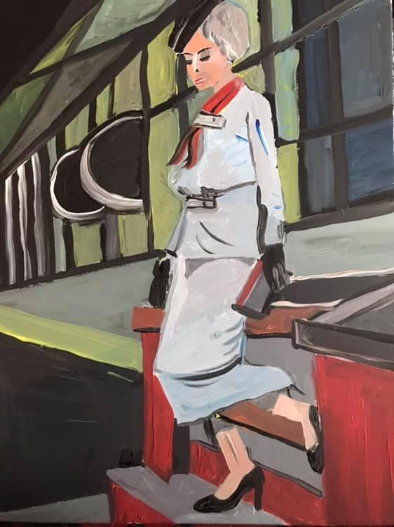 """Sabine Schäfer - """"Frau auf roter Treppe""""  Acryl a. LW 80 x 60 cm"""