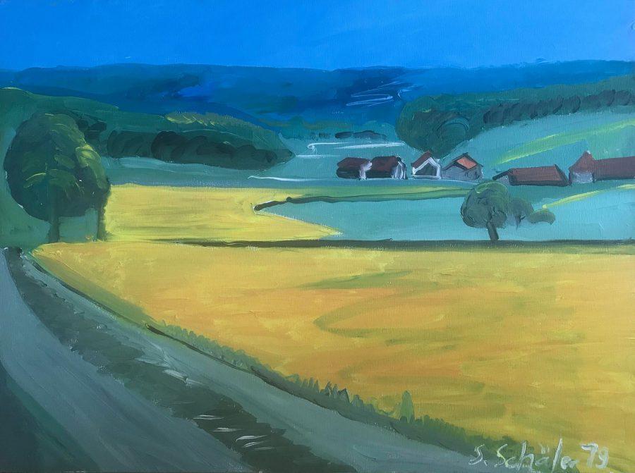"""Sabine Schäfer - """"Rapsfeld"""" -  2019 60 x 80cm Acryl ungerahmt Landschaft"""