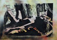 Künstler: Armin Schanz | 2016 | 70 x 100 cm | Graffito und Holzschnitt auf Leinwand, rückseitig geklammert