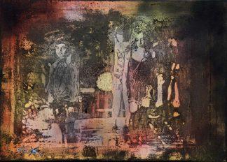 Künstler: Armin Schanz | 2016 | 70 x 100 cm | Graffito und Holzschnitt mit echtem Blattgold auf Leinwand, rückseitig geklammert