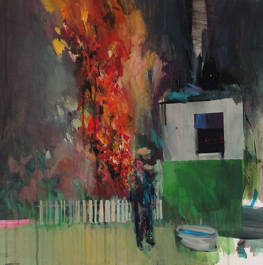 """Christian Krieter: """"Vorgarten"""" - Acryl auf Leinwand, 50x50cm"""