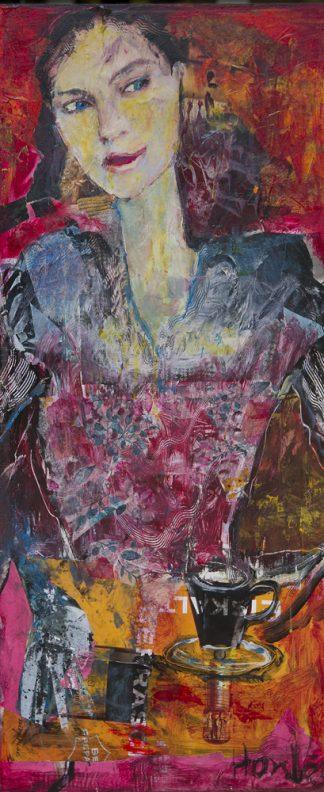 "Hanne Neß: ""Junge Frau"" | 2020 | 65 x 35 x 1,6 cm | Malerei-Acryl/Collage auf Holz | ungerahmt"